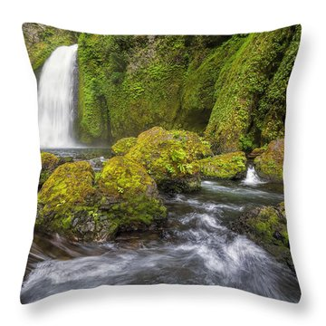 Wahclella Falls Throw Pillow by David Gn