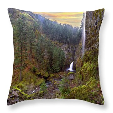Wahclella Falls In Columbia River Gorge Throw Pillow by David Gn