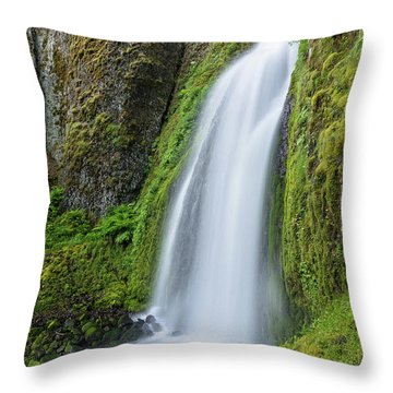 Wahkeena Falls Throw Pillow by Greg Nyquist