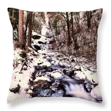 Throw Pillow featuring the photograph Wahkeena Falls In Ice by Jeff Swan