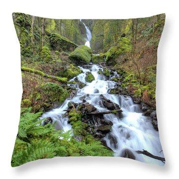 Wahkeena Falls Oregon Waterfall Throw Pillow by Dustin K Ryan