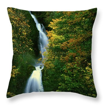 Wahkeena Falls Waterfall Throw Pillow