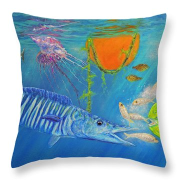 Wahoo Dolphin Painting Throw Pillow