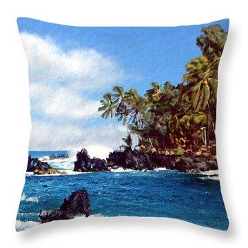 Waianapanapa Maui Hawaii Throw Pillow by Kurt Van Wagner