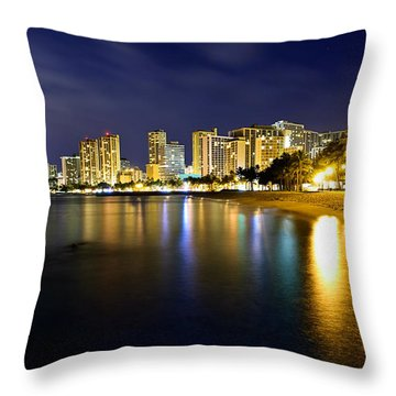 Waikiki After Midnight Throw Pillow