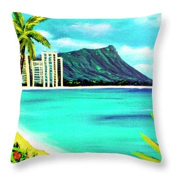 Waikiki Beach And Diamond Head #150 Throw Pillow by Donald k Hall