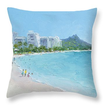 Waikiki Beach Honolulu Hawaii Throw Pillow