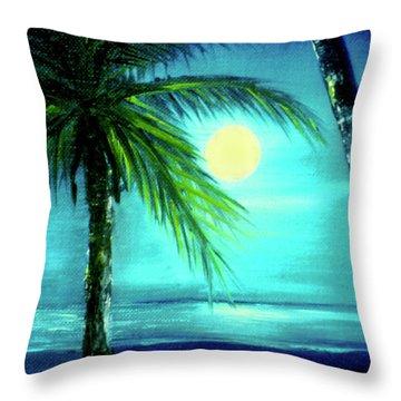 Waikiki Beach Moon #22 Throw Pillow by Donald k Hall