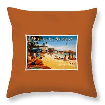 Waikiki Beach Throw Pillow by Nostalgic Prints