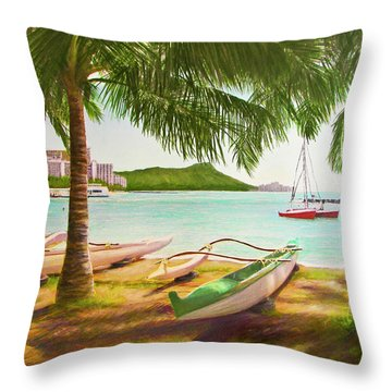 Waikiki Beach Outrigger Canoes 344 Throw Pillow by Donald k Hall