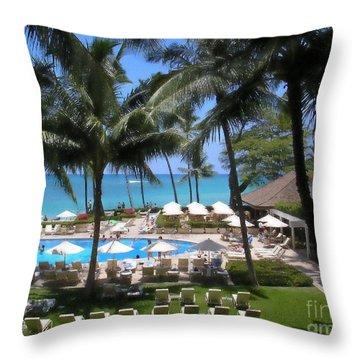 Waikiki Impressionism Throw Pillow