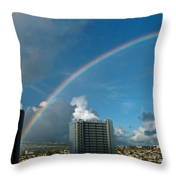 Waikiki Rainbow Throw Pillow by Anthony Baatz