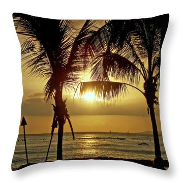 Waikiki Sunset Throw Pillow by Anthony Baatz