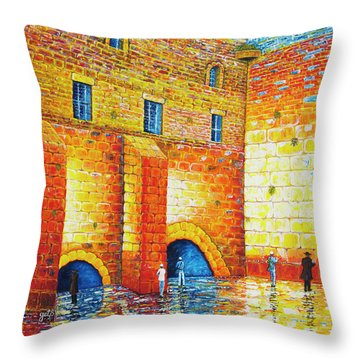 Throw Pillow featuring the painting Wailing Wall Original Palette Knife Painting by Georgeta Blanaru