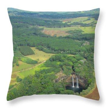 Throw Pillow featuring the photograph Wailua Falls by Brenda Pressnall