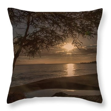 Waimea Bay Sunset 4 Throw Pillow