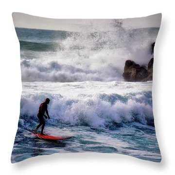 Waimea Bay Surfer Throw Pillow by Jim Albritton