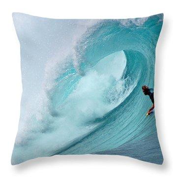 Waimea Bodyboarder Throw Pillow by Kevin Smith
