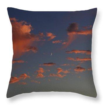 Waining Moon Pink Clouds Throw Pillow