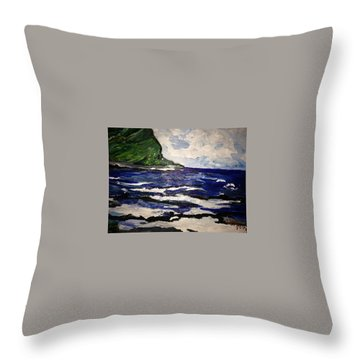 Waipio Valley  Beach Throw Pillow