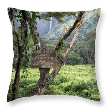 Waipio Valley Road Rules Throw Pillow