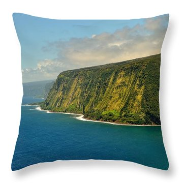 Waipio Waterfall Coastline Throw Pillow