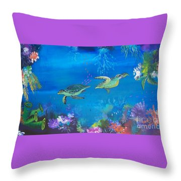 Throw Pillow featuring the painting Wait For Me by Lyn Olsen