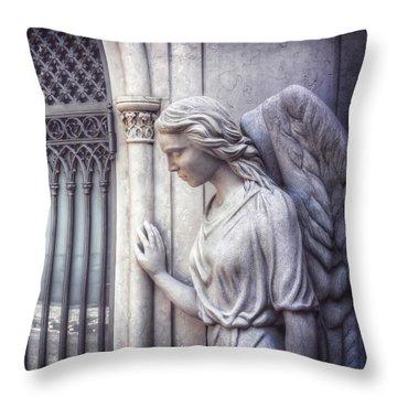 Waiting Angel In Prazeres Lisbon Throw Pillow by Carol Japp