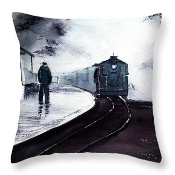 Throw Pillow featuring the painting Waiting by Anil Nene