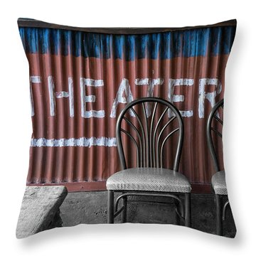 Corrugated Metal Theater Sign Throw Pillow