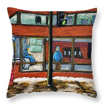 Waiting At The Metro Throw Pillow