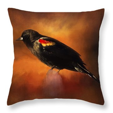 Waiting - Bird Art Throw Pillow