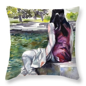 Waiting By The Pool Throw Pillow