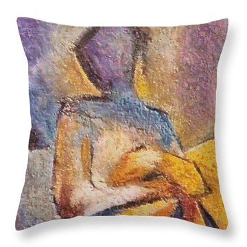 Throw Pillow featuring the mixed media Waiting by Dragica  Micki Fortuna