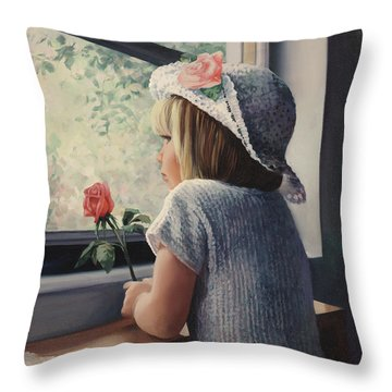Waiting For Daddy Throw Pillow by Laurie Hein