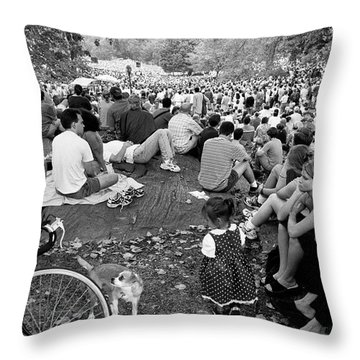 Throw Pillow featuring the photograph Waiting For Dali Lama Central Park by Dave Beckerman