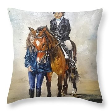 Waiting For Dressage Throw Pillow