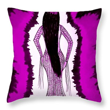 Waiting For Him In Purple Throw Pillow