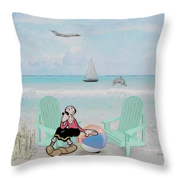 Waiting For Popeye Throw Pillow