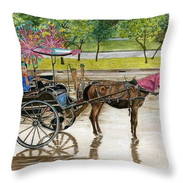 Throw Pillow featuring the painting Waiting For Rider Jakarta Indonesia by Melly Terpening