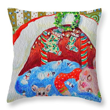 Throw Pillow featuring the painting Waiting For Santa by Li Newton