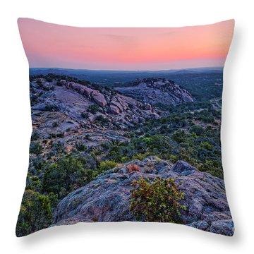 Waiting For Sunrise At Turkey Peak - Enchanted Rock Fredericksburg Texas Hill Country Throw Pillow