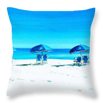 Waiting For The Beach Sitters Throw Pillow