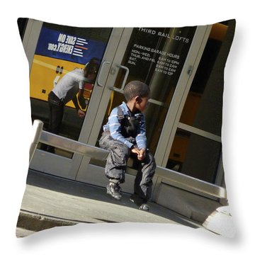 Waiting For The Bus Throw Pillow by Angela Wright