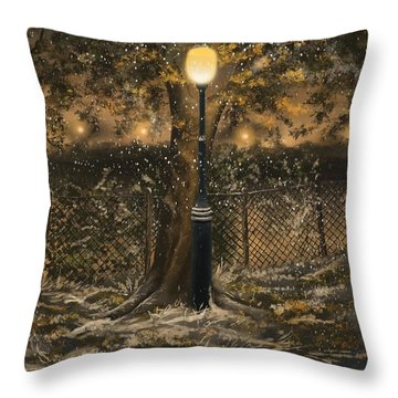 Throw Pillow featuring the painting Waiting For The Snow by Veronica Minozzi