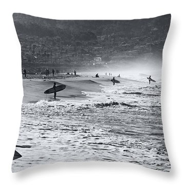 Waiting For The Surf By Mike-hope Throw Pillow