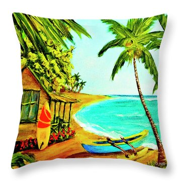 Waiting For The Waves Hawaii #387  Throw Pillow by Donald k Hall