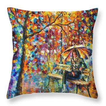 Waiting In The Rain Throw Pillow by Leonid Afremov