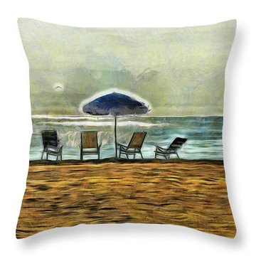 Throw Pillow featuring the mixed media Waiting On High Tide by Trish Tritz