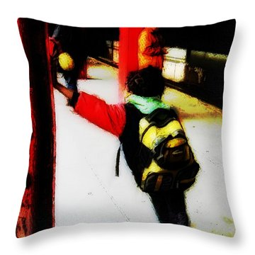 Waiting On The Q Train In Flatbush Throw Pillow by Iowan Stone-Flowers